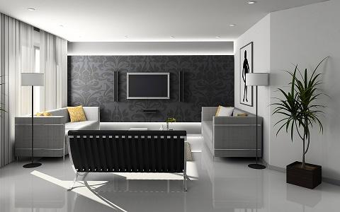 Svart och vitt vardagsrum