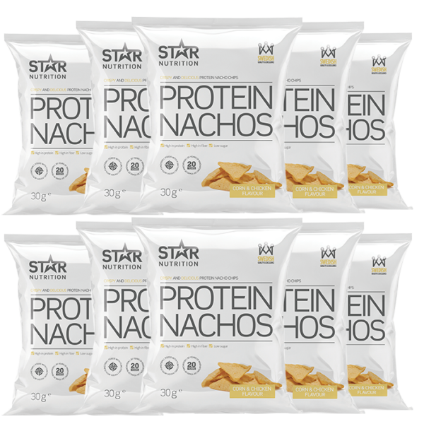 10 x Protein Nachos, 30g, Corn and Chicken, Kort datum
