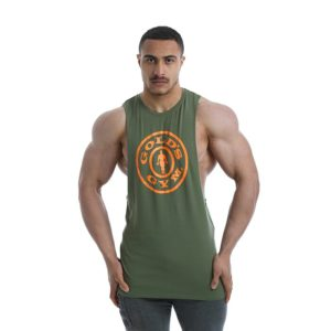Golds Gym Drop Armhole Vest, Khaki