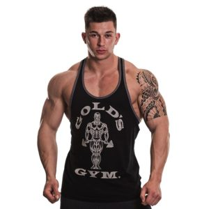 Golds Gym Muscle Joe Contrast String Vest, Black/Grey Marl