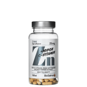 Zink 25mg + C-vitamin & Nypon, 100 tabletter